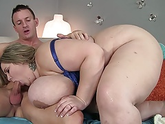 Fit guy shoves his dick deep into a blonde BBW