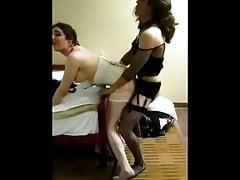 Horny crossdresser is fucking bareback a sissy trans girl