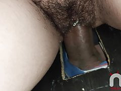 Being fucked without a condom by strangers at the glory hole