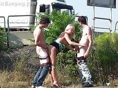 Blonde teen girl in PUBLIC gangbang sex orgy Part 2