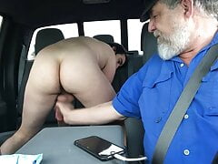 Hung twink getting milked in the back of a truck